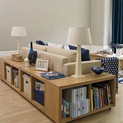 aménagement de petits espaces, canapé, étagères