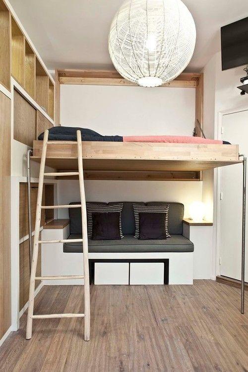aménagement de petits espaces, lit, mezzanine