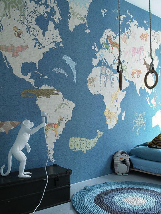 Idées déco - Papier peint motif monde