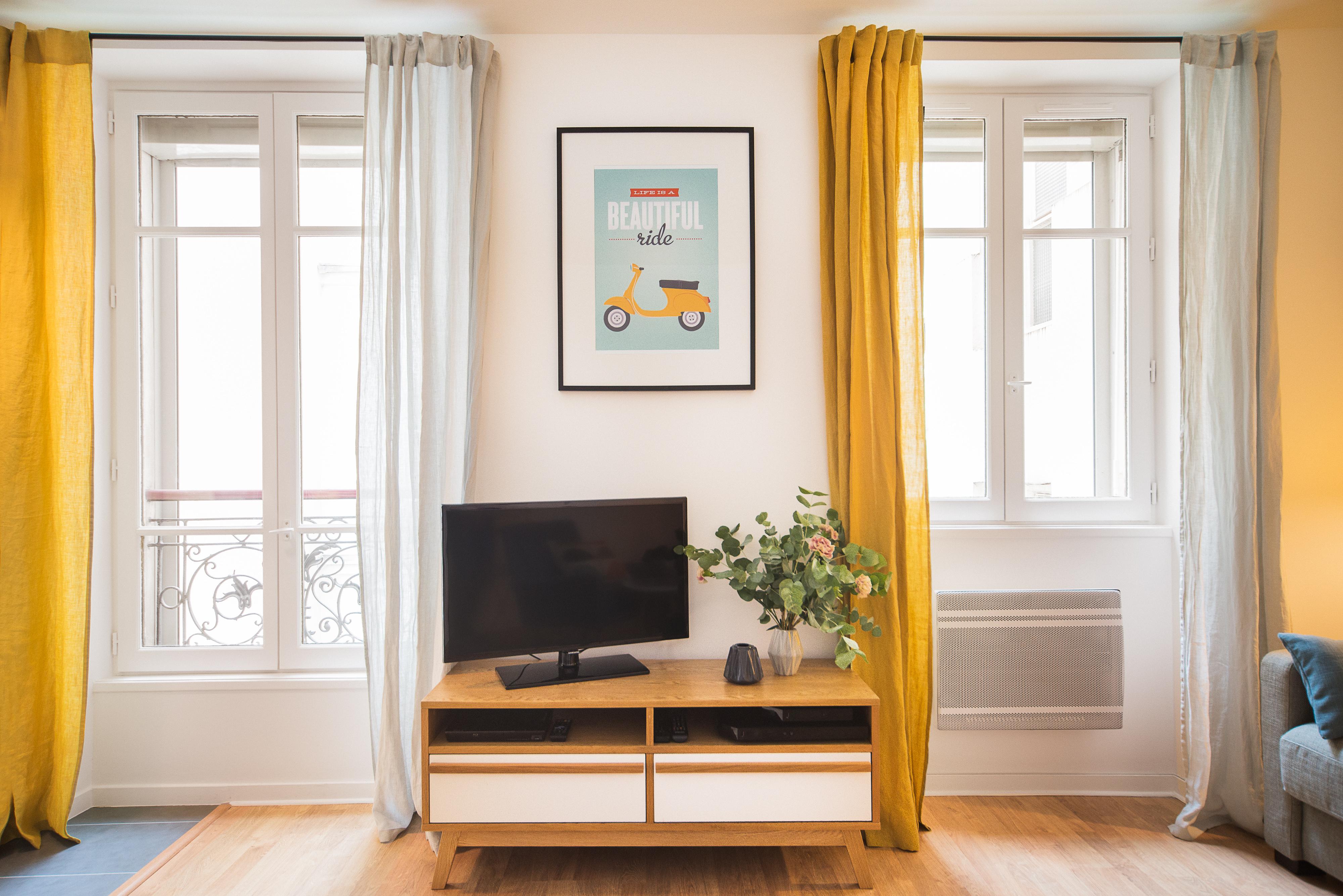 déco rideaux jaunes