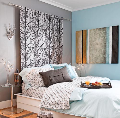 tête de lit originale déco rideaux