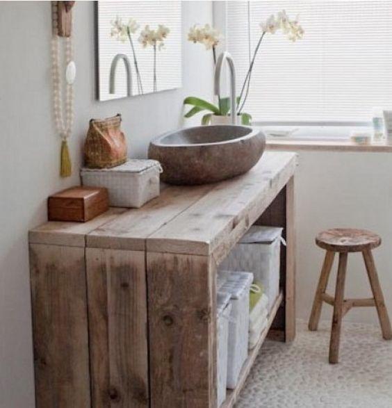 idée meuble salle de bains - meuble bois