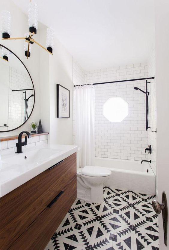 idée carrelage salle de bains - revetement-sols-salle-de-bains-carrelage-graphique