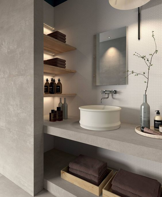 salle de bains moderne matériaux
