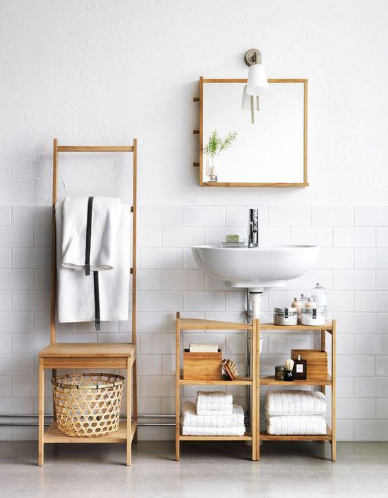 salle de bains carrée - lavabo suspendu