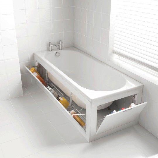 Rénover baignoire : panneaux de rangement mobiles intégrés