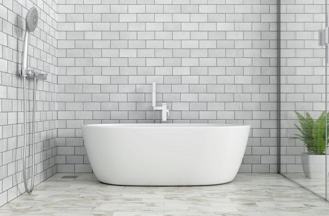 salle de bain avec carrelage