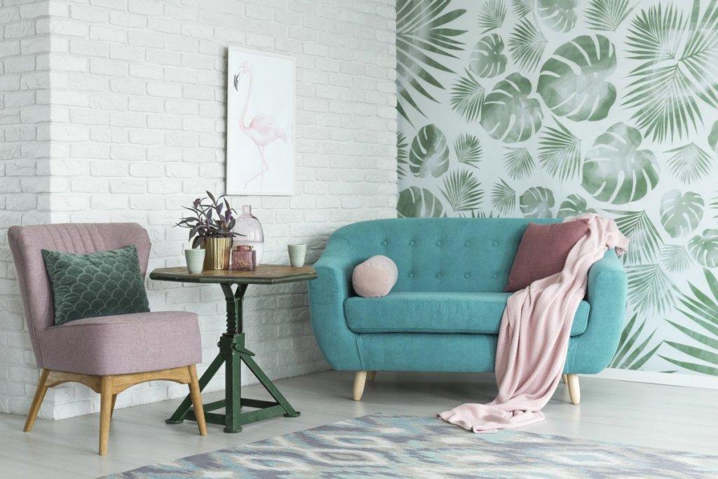 papier peint vert plantes