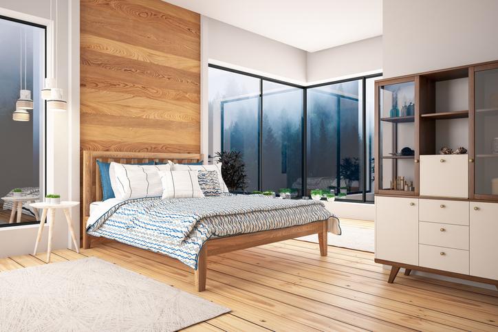 chambre maison moderne lit parquet