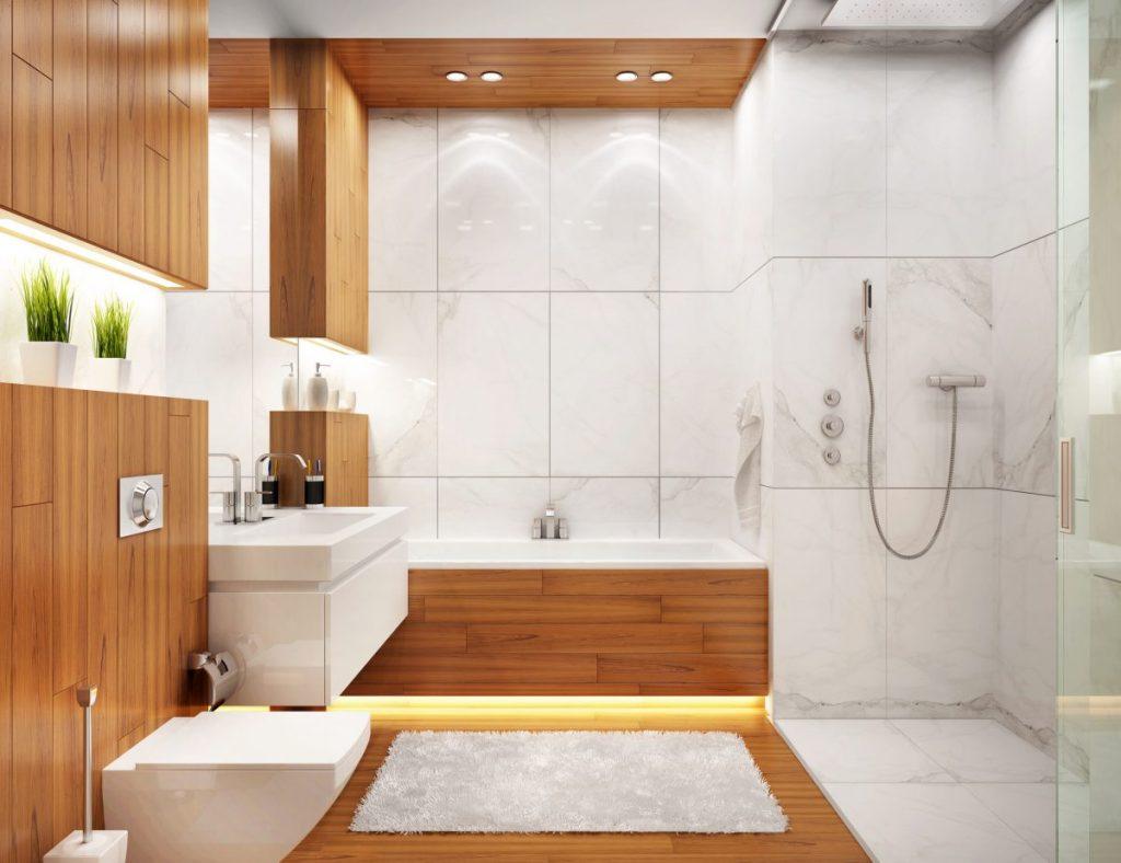 salle de bain moderne deco blanc et bois