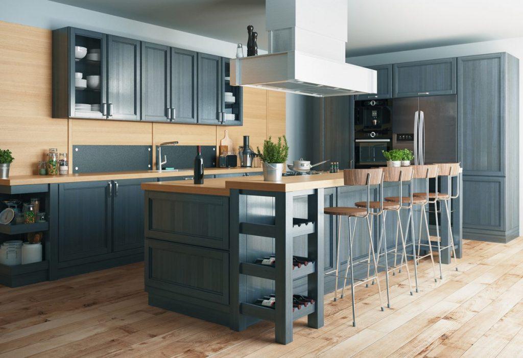 cuisine-meuble-bleue-revetements-de-sol-parquet-bois