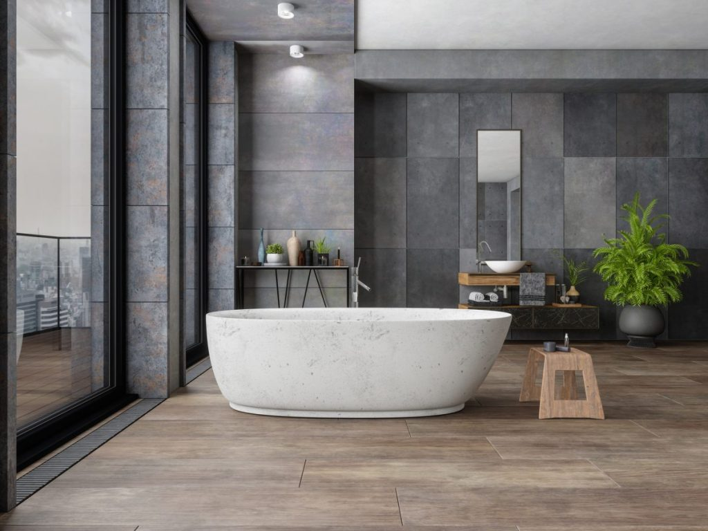 tendances-dico-salle-de-bains-baignoire-ilot-dans-déco-gris-fonde