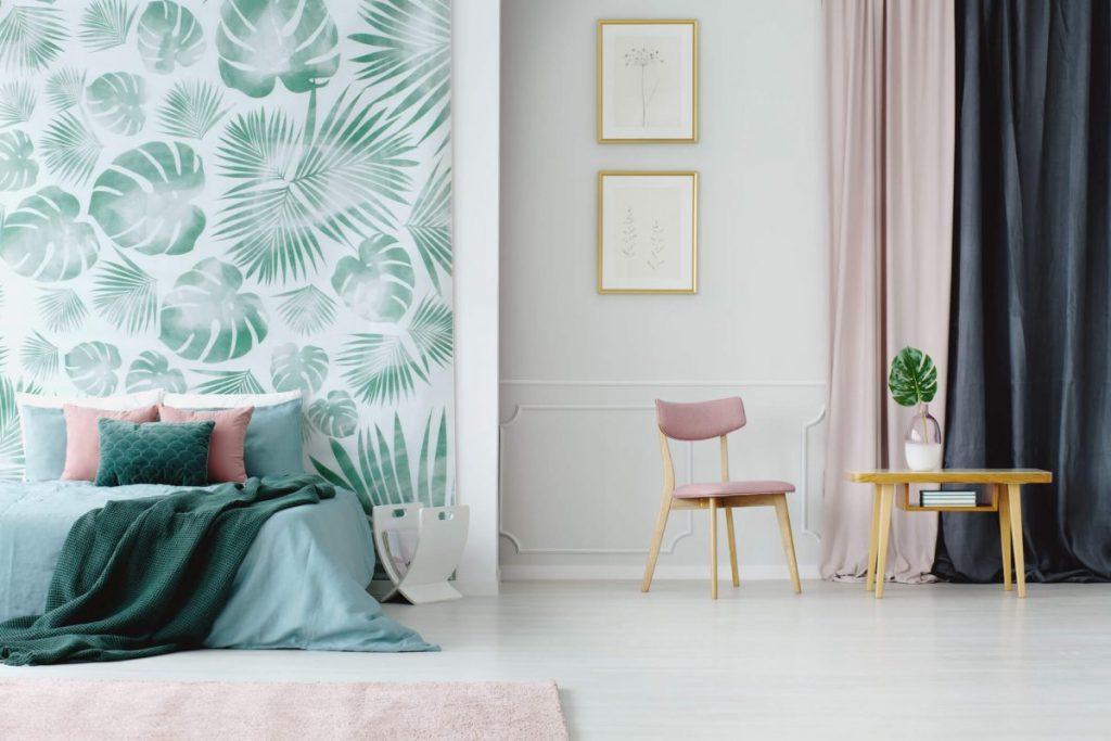 chambre-adulte-deco-tropicale-papier-peint