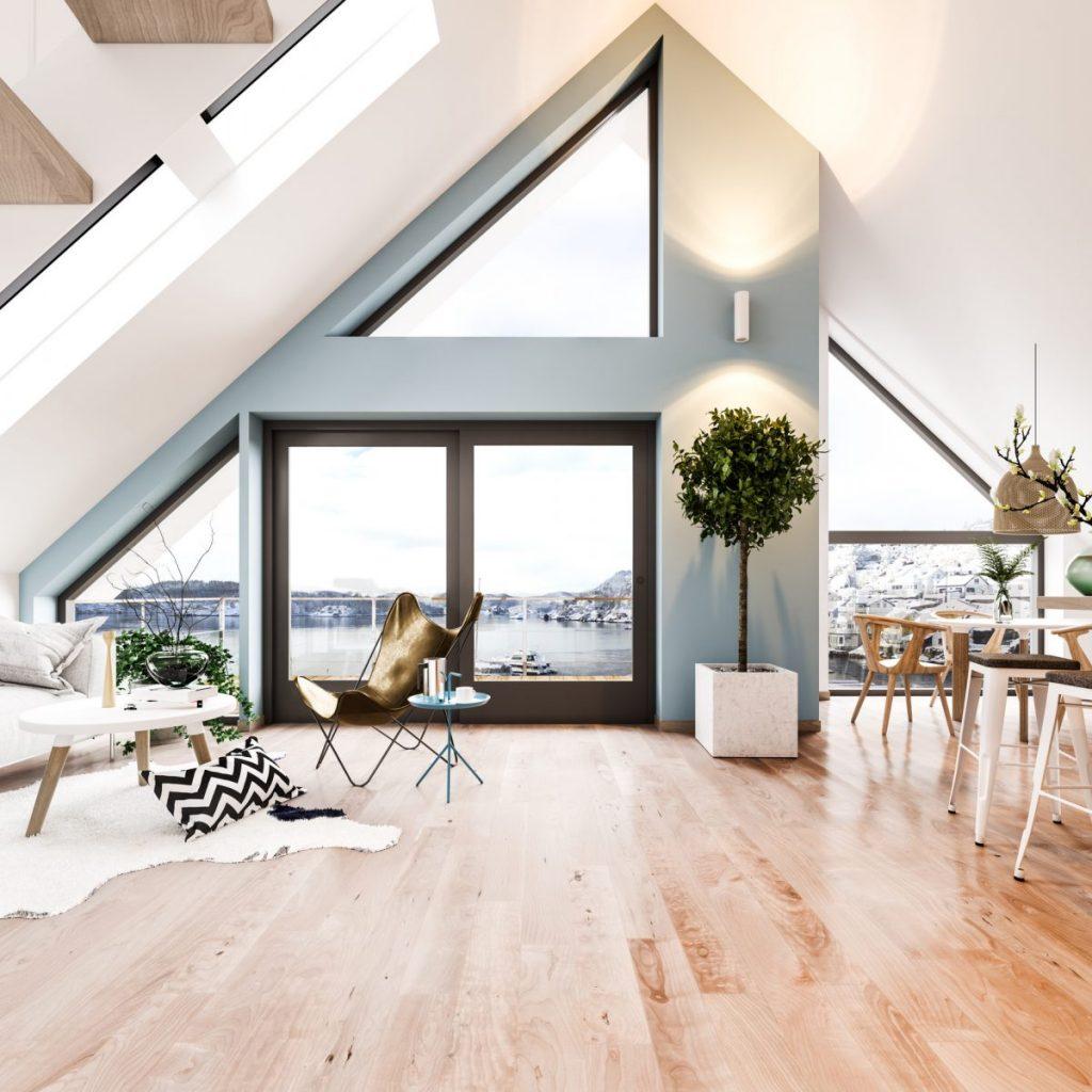 séjour deco scandinave sol carrelage bois baie vitree