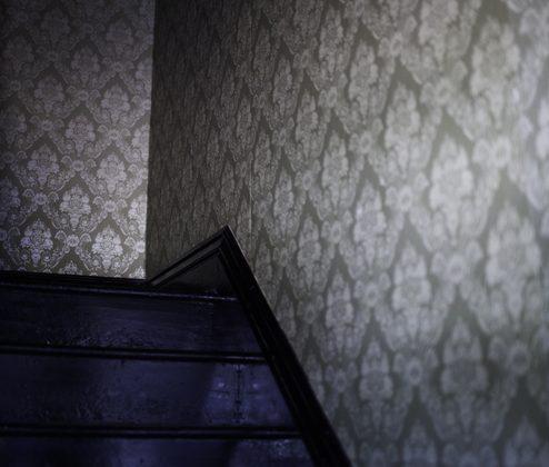 Un papier peint pour des escaliers en bois sombre