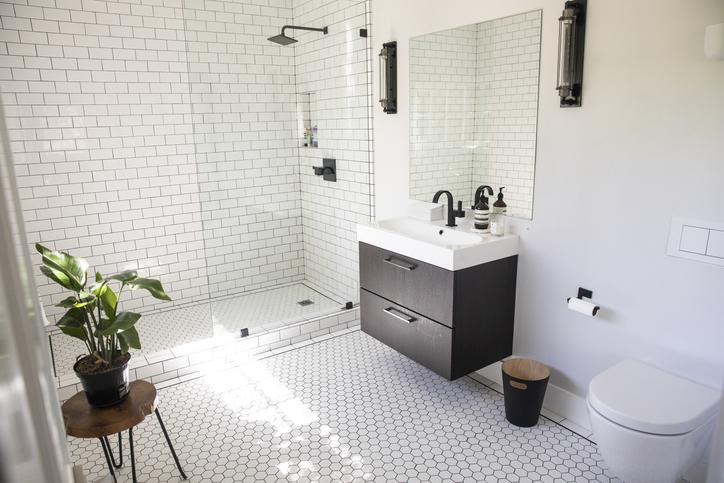 salle-de-bains-blanche-plante
