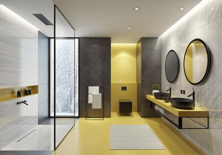 salle-de-bains-luxe-jaune-noir