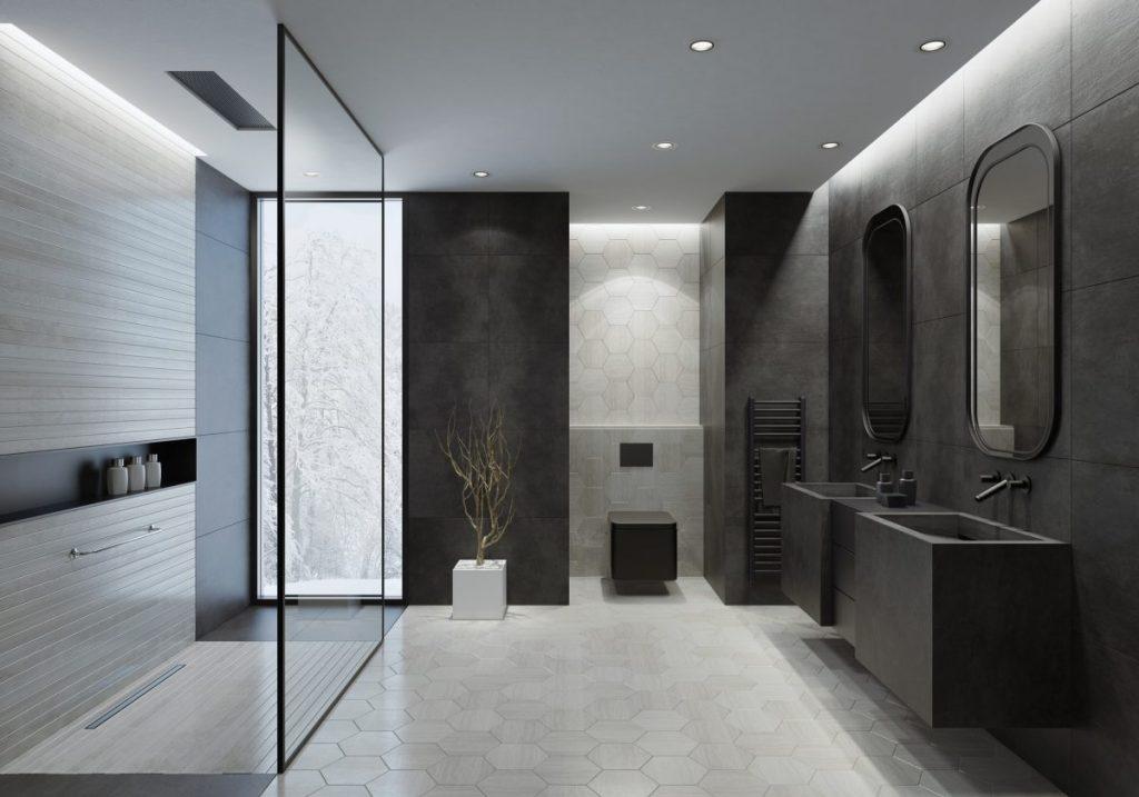 salle de bain noire avec paroi de douche à l'italienne design