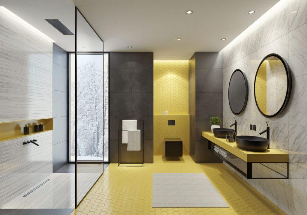 salle de bain carrelage marbre jaune et gris