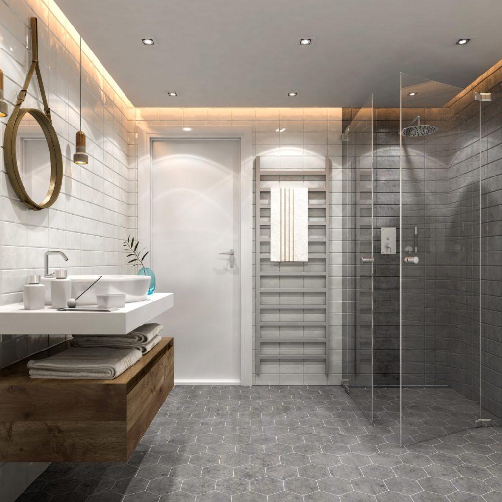 salle de bain sol carrelage gris mur blanc meuble vasque bois douche vitrée