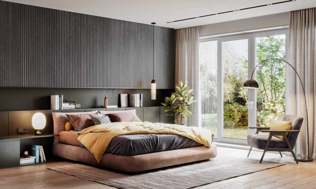 chambre avec baie vitre et fauteuil