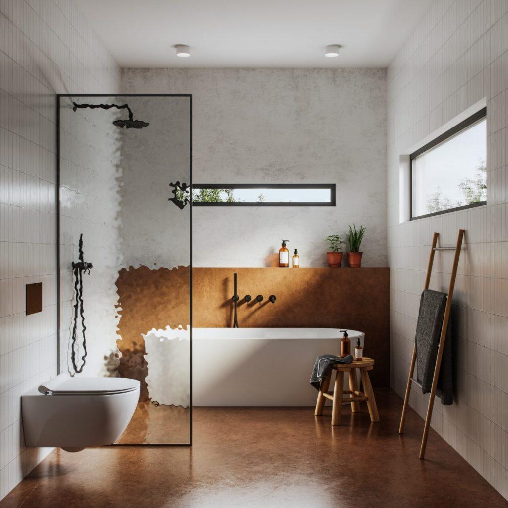 salle de bain moderne avec baignoire et douche a l'italienne