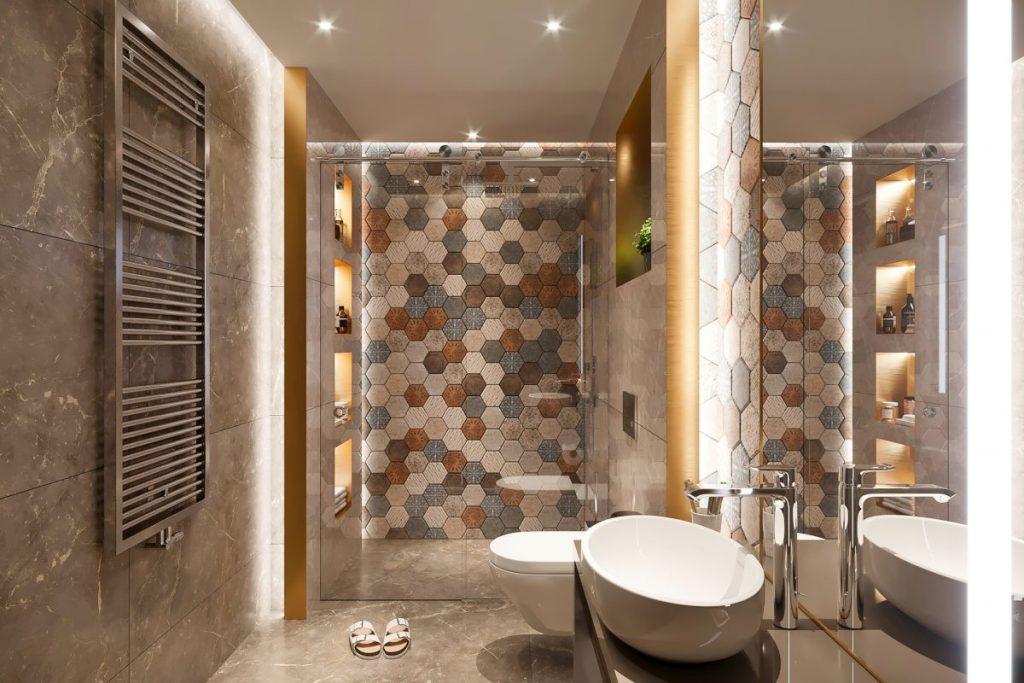 douche a l'italienne dans petite salle de bain au couleur chaude