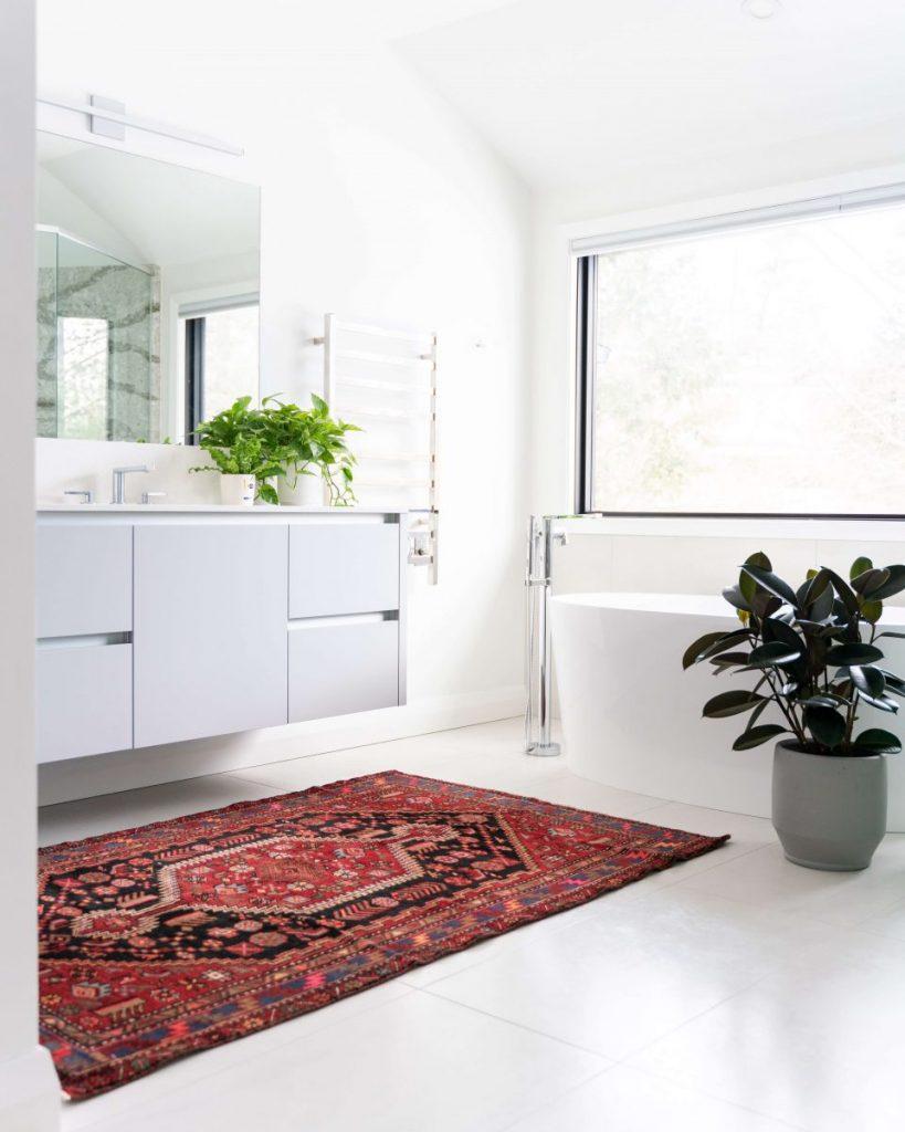 salle de bain blanche avec tapis rouge au sol et plante en pot
