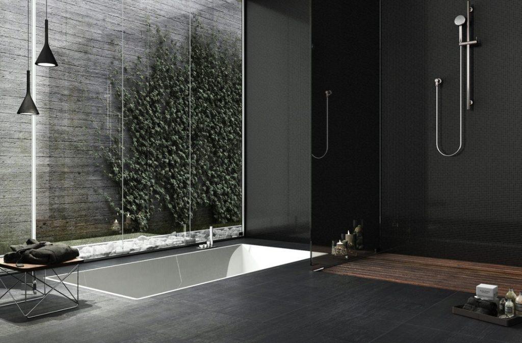 carrelage noir salle de bain moderne