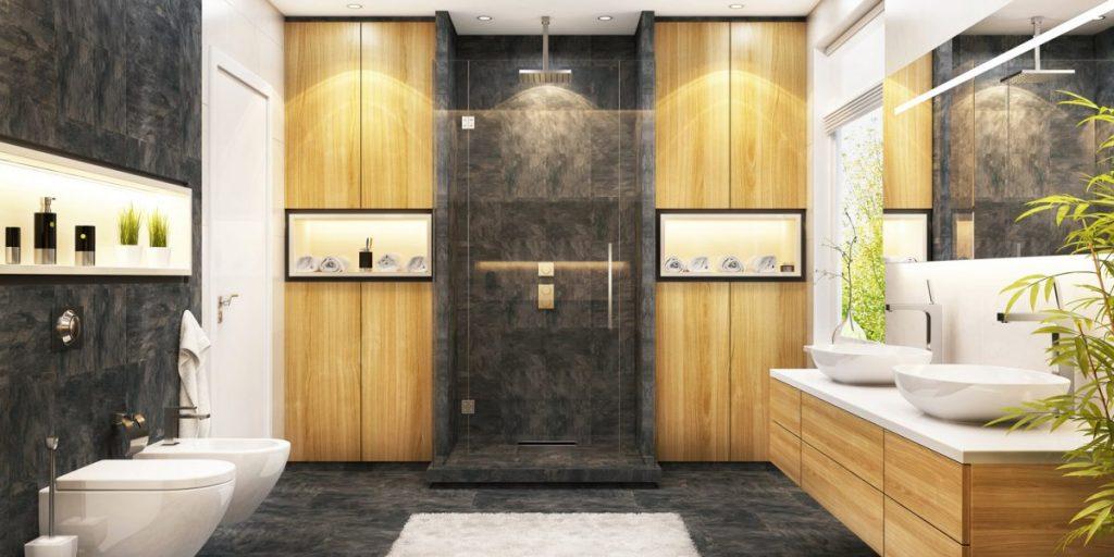 niche murale éclairée salle de bain